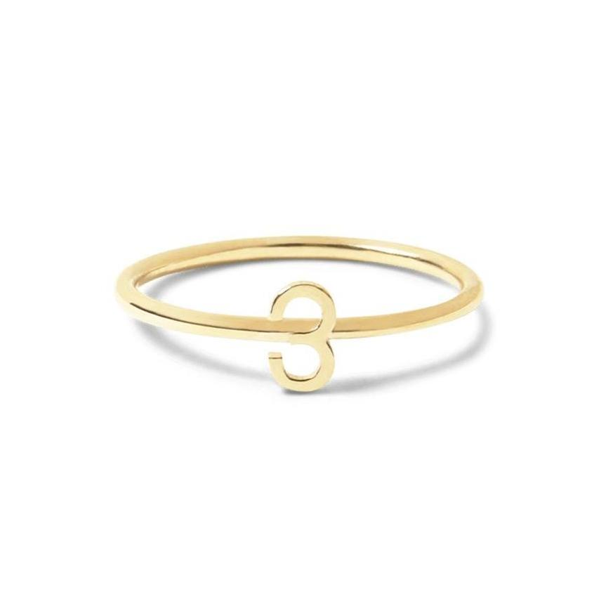 14K Gold Number Ring