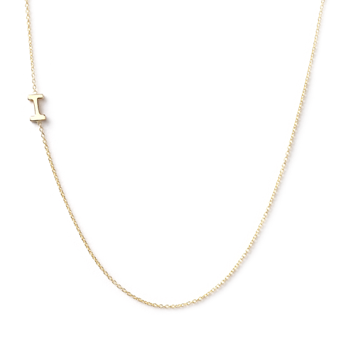 14K GOLD ASYMMETRICAL LETTER NECKLACE - I