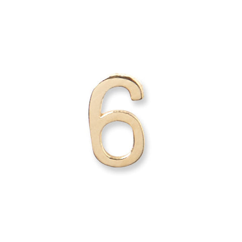 14K Gold Number Stud - 6