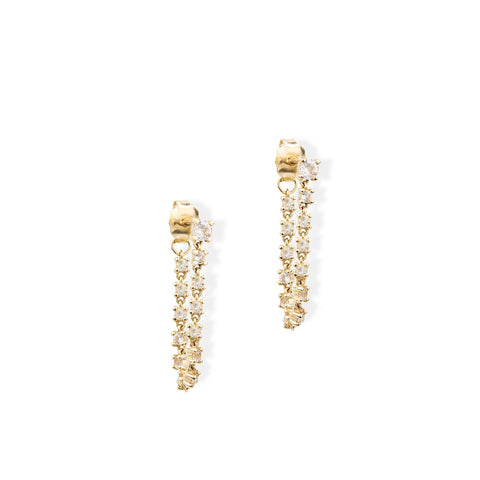 White Topaz Chain Earring