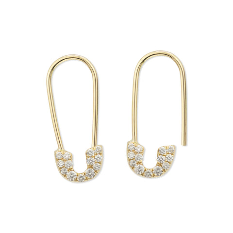 Pavé Safety Pin Earring