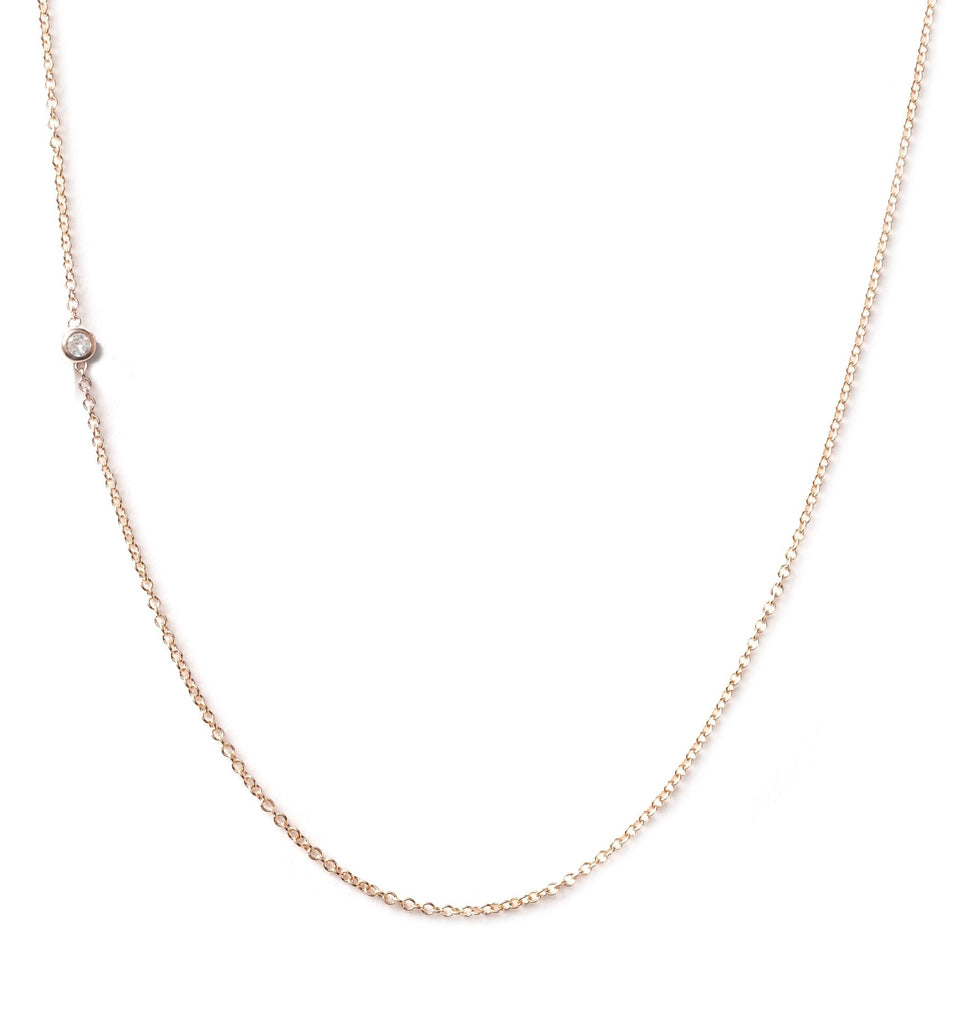 14K GOLD ASYMMETRICAL LETTER NECKLACE - DIAMOND