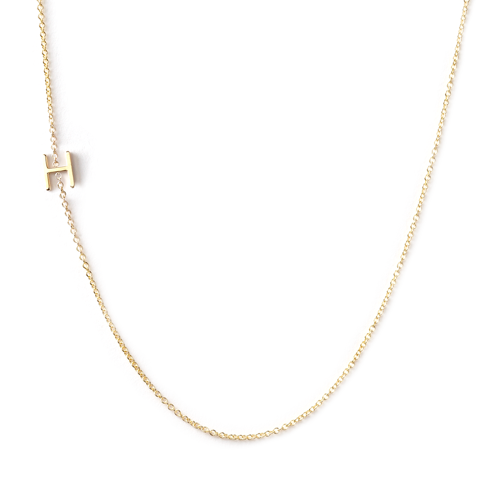 14K GOLD ASYMMETRICAL LETTER NECKLACE   H – Maya Brenner