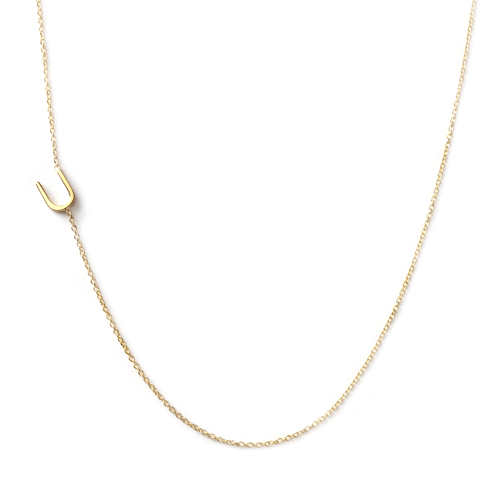 14K GOLD ASYMMETRICAL LETTER NECKLACE - U