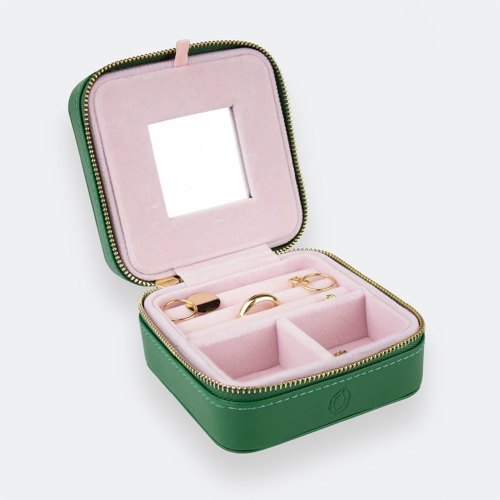 Travel Jewelry Case - Green/Pink
