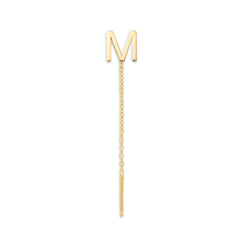 14K Gold Letter Threader Earring