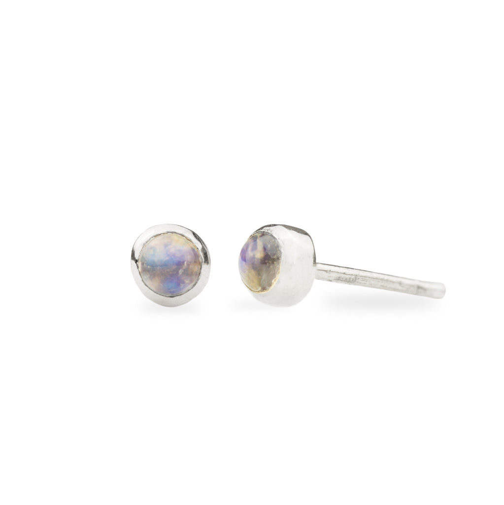 Moonstone Studs - Sterling Silver