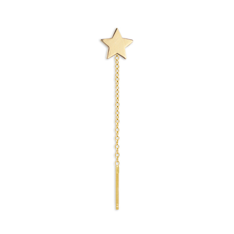 14K Gold Star Threader Earring