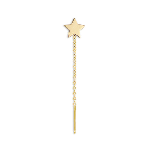 14K Gold Charm Threader Earring