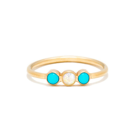 Triplet Ring | Turquoise with Opal Center