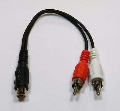 RCA Jack Female to 2 RCA Plug Male Y Splitter Audio Video Adapter Cable Cord