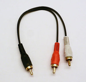 2 Pack RCA Plug Male to 2 RCA Plug Male Y Splitter Audio Video Adapter Cable