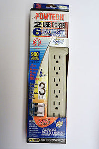6 Outlets Power Strip Surge Protector with Safety Circuit Breaker / 2 USB Ports