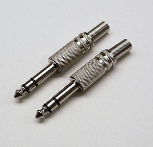"2 Pack 1/4"" 6.35 mm Male Stereo Audio Cable Connector Plug"