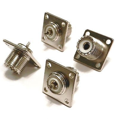 4 Pack UHF Female Jack SO239 Panel Chassis Mount Connectors
