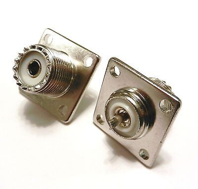 2 Pack UHF Female Jack SO239 Panel Chassis Mount Connectors