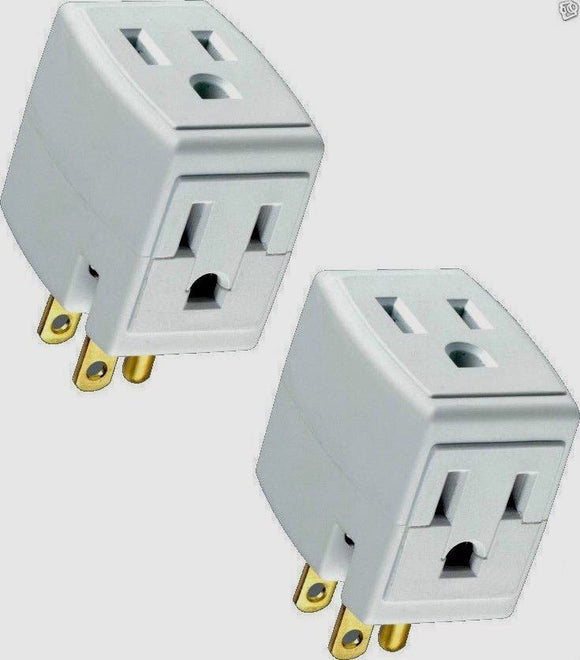 2 PACK TRIPLE OUTLET GROUNDED ELECTRIC WALL 3 WAY TAP POWER ADAPTER