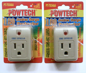 2 Pack Surge Protector Suppressor Single Outlet 180 Joules 15A 1875 Watt