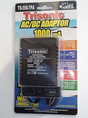 Universal AC/DC Power Adaptor 110V/220V Output 1.5 3 4.5 6 7.5 9 12 V 1000 mA
