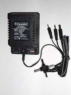 Universal AC/DC Power Adapter Output 1.5-3-4.5-6-7.5-9-12 V 1000 mA 2 Sony Plugs