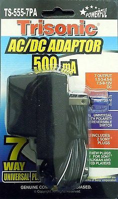 Universal AC/DC Power Adaptor 110V/220V Output 1.5 3 4.5 6 7.5 9 12 V 500 mA