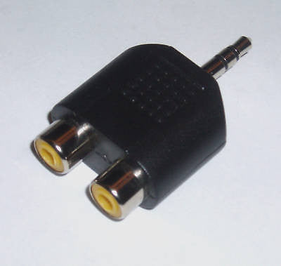 3.5mm STEREO MALE PLUG TO 2 RCA FEMALE AUDIO ADAPTER