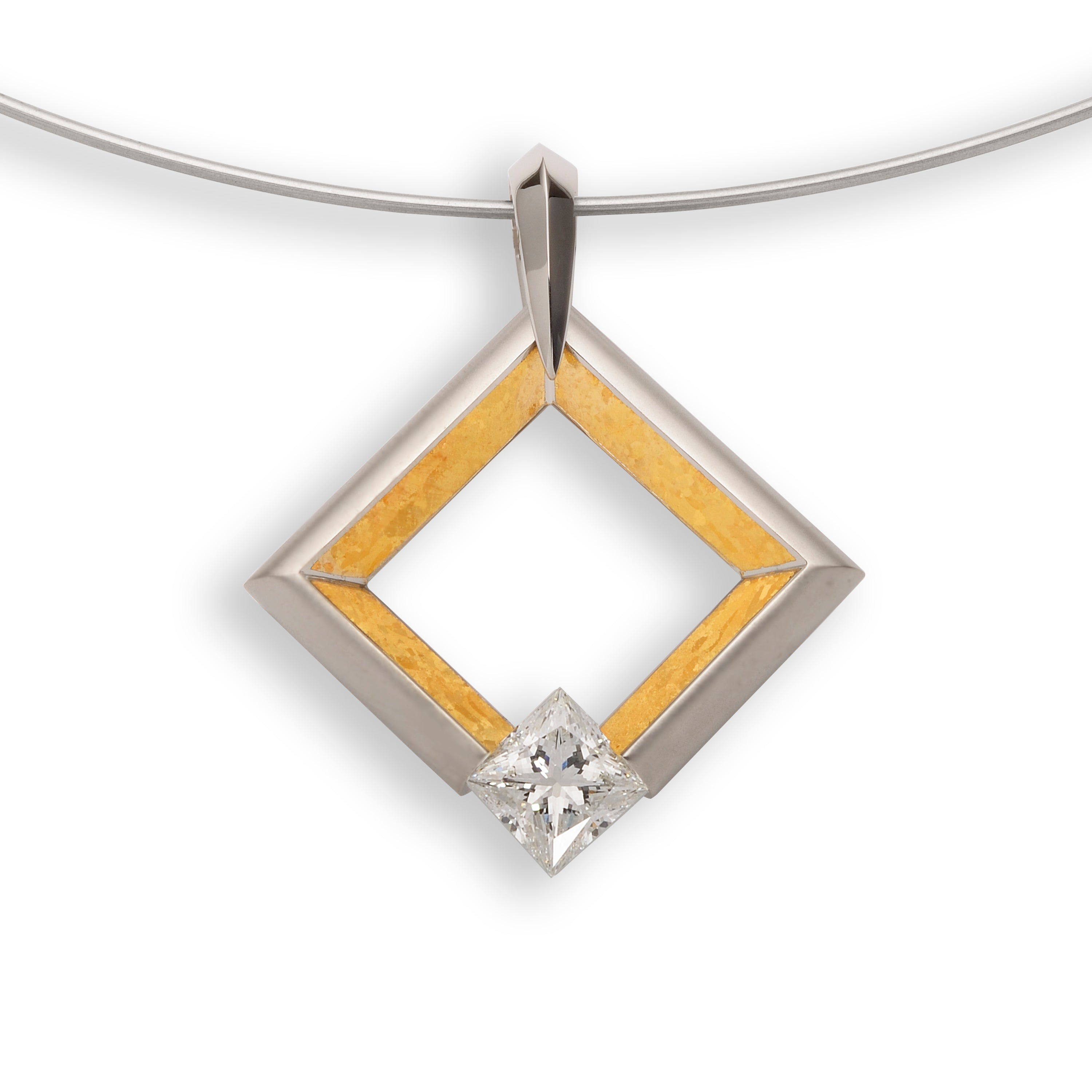 Large Square Pendant with 24K Inlay