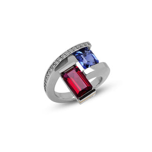 2-Stone Helix Ring with Tension-Set Blue Sapphire and Rubellite