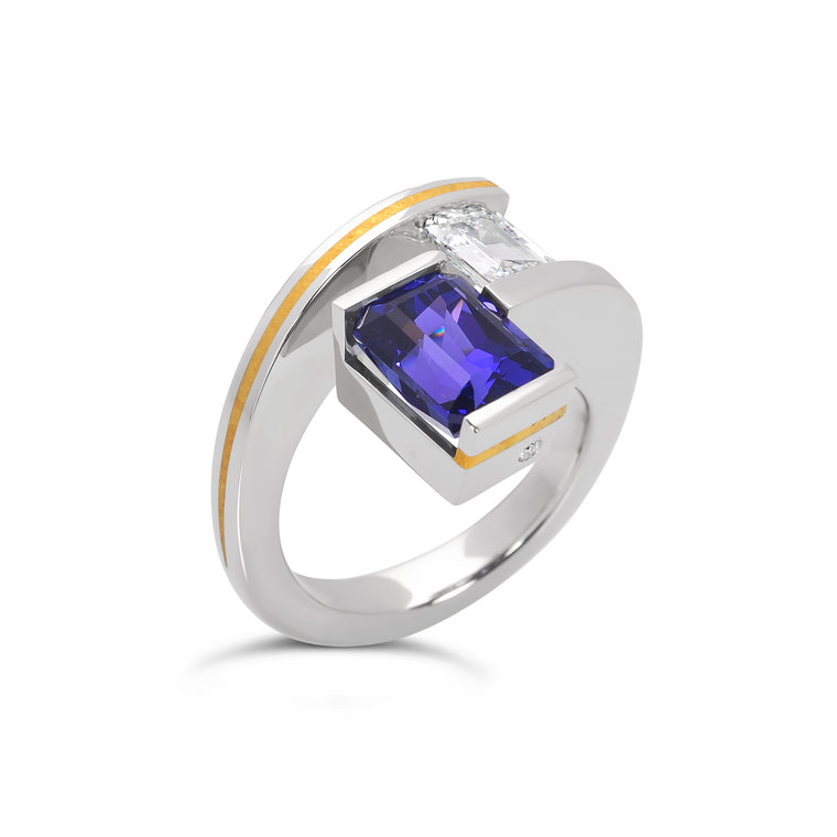 2-Stone Tanzanite and Diamond Rudder Ring