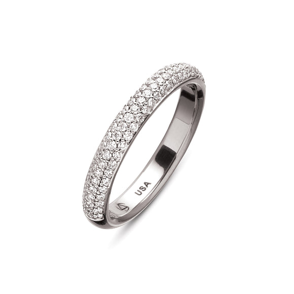 Omega 3 Row Pave Eternity Band