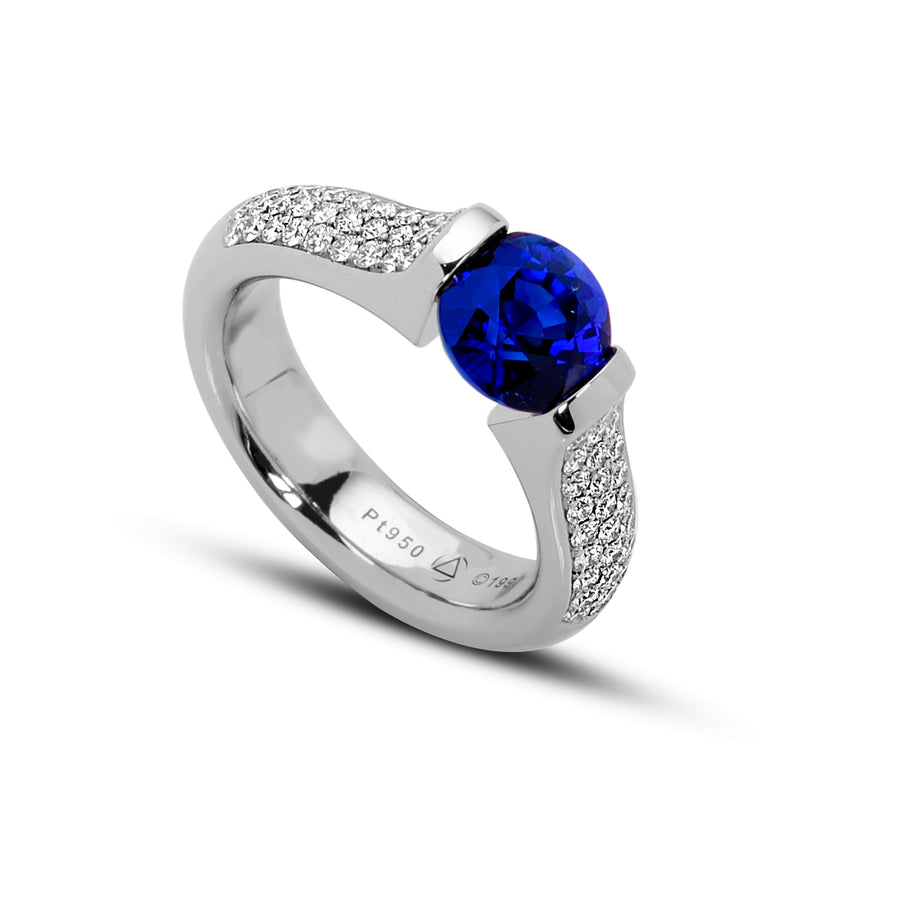 2.33 ct. Blue Sapphire set in Omega 3-Row Pave