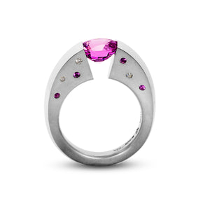 2.16 ct. Pink Sapphire set in Blade Ring