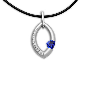 Large Mango Pendant with Blue Sapphire