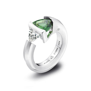 2-Stone Chrome Tourmaline and Diamond Ring