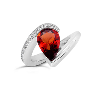 2.91 ct. Orange Sapphire set in DP with Pave