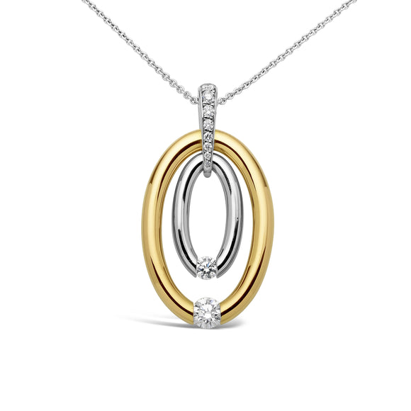 Double Oval Pendant with a Pave Bail