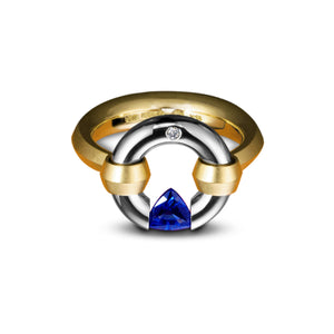 Gothic Jazz Ring with a Trillion Blue Sapphire