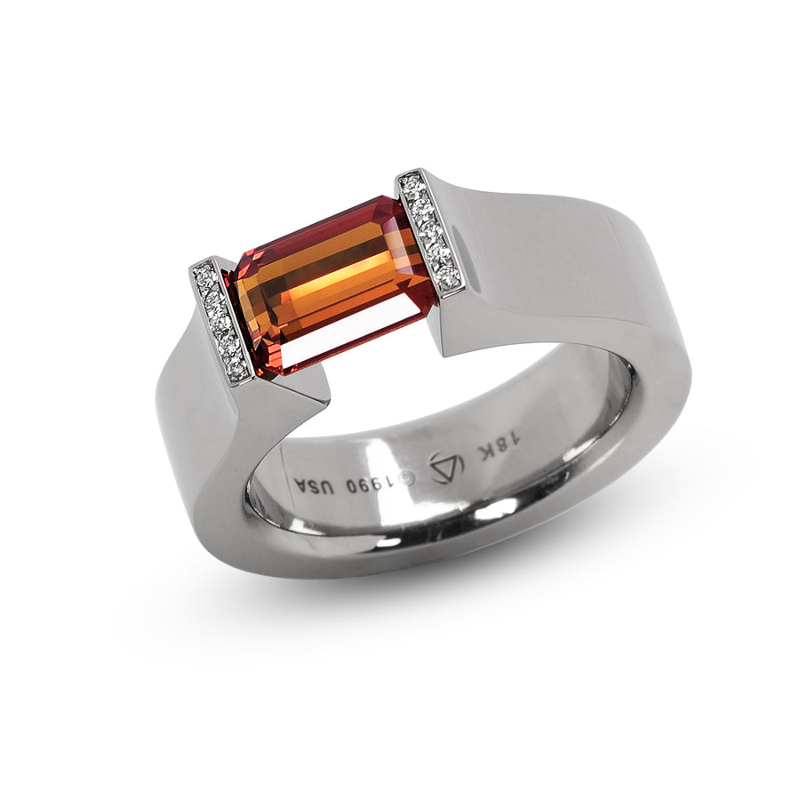 2.27 ct. Orange Sapphire set in Hard Omega with Pave Lips