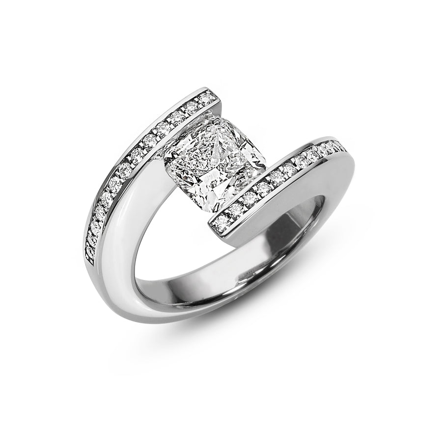 2.16 ct. Cushion Diamond set in pave HTF