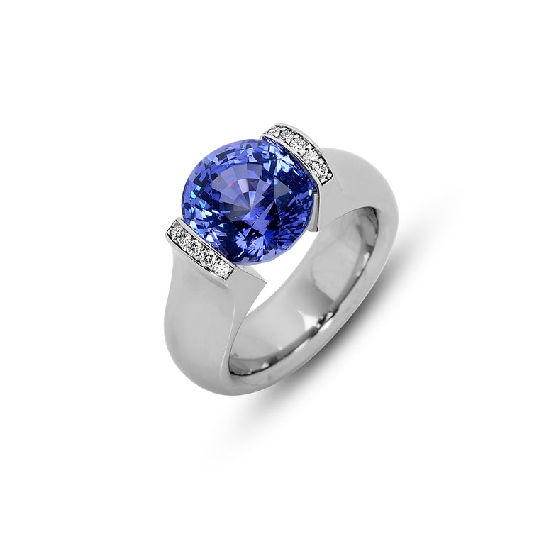 Omega Rings with Pave Lips and Tension-Set 5.66ct Blue Sapphire