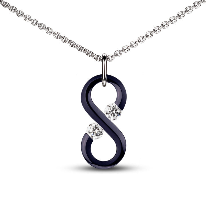 Large Midnight Blue Vertical Infinity Pendant