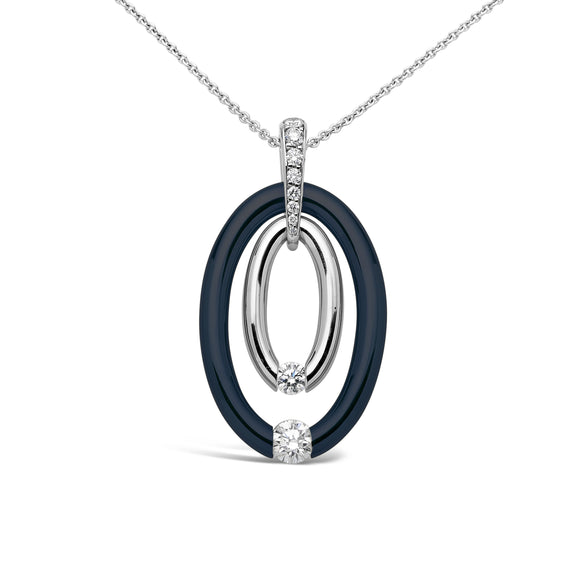 Double Oval Pendant with Midnight Blue