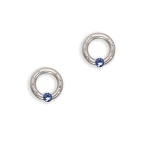 Scattered melee Round Earrings with Blue Sapphires