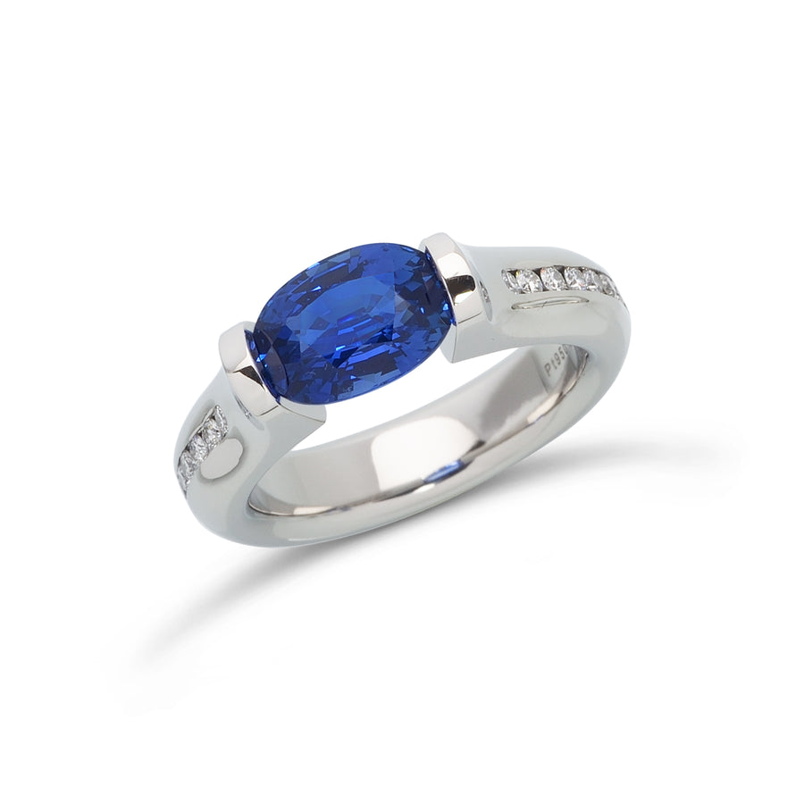 2.69 ct. Blue Sapphire set in Omega Channel