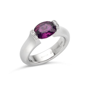3.00 ct. Magenta Sapphire set in Omega Round with Pave Lips
