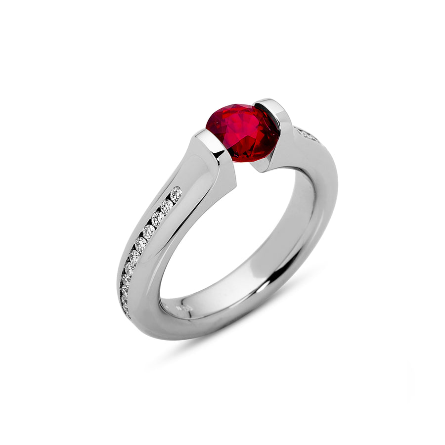1.42 ct. Ruby set in Omega Full Channel