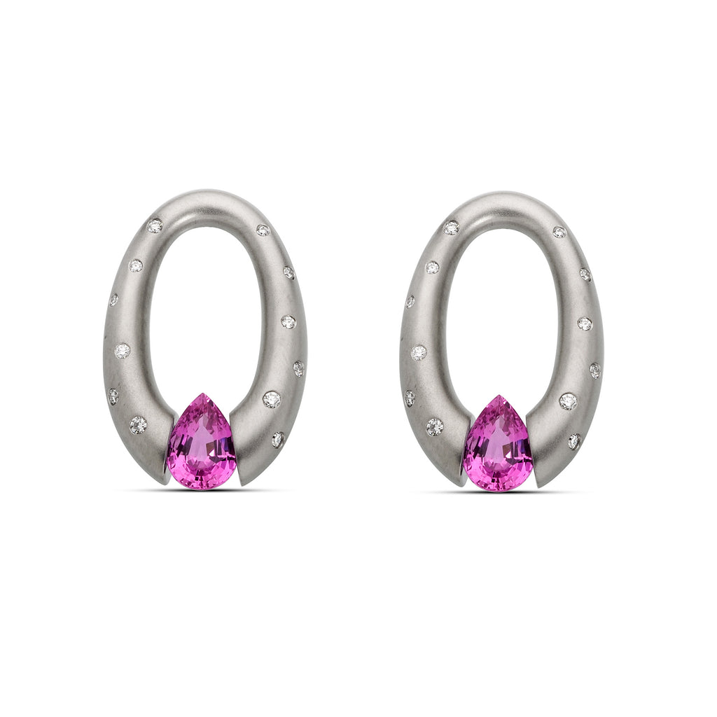 Oval Earrings with Pink Pear Shaped Sapphires
