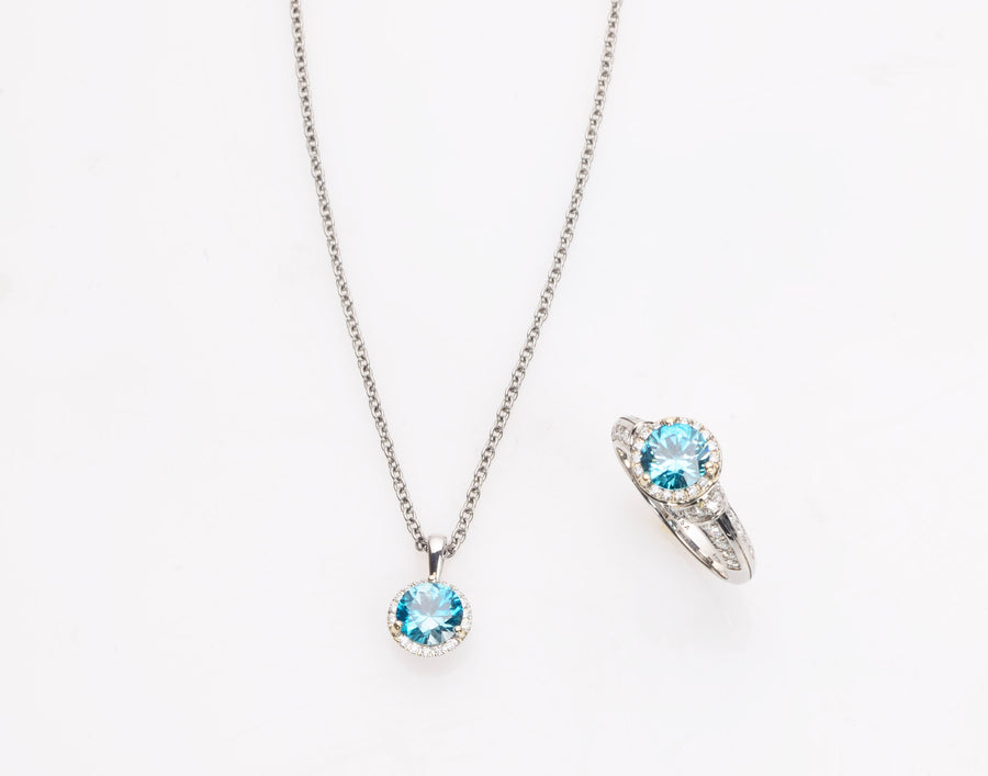 Blue Zircon and Diamond Halo Pendant and Ring