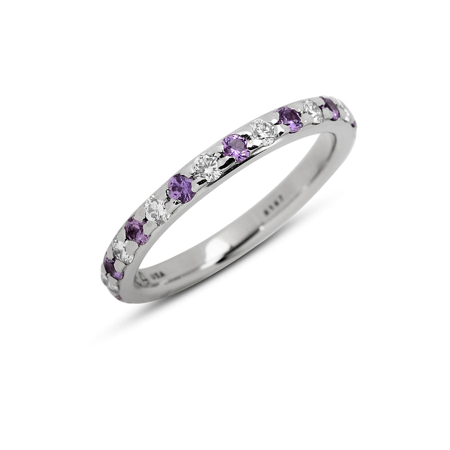 1.88 mm Hala Band with Lavender Sapphires and Diamonds