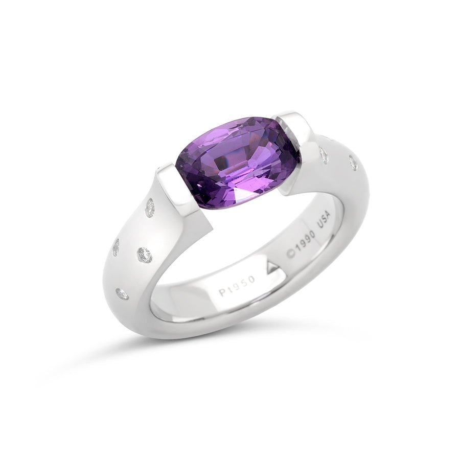 2.50 ct. Purple Sapphire set in Omega Scattered Melee